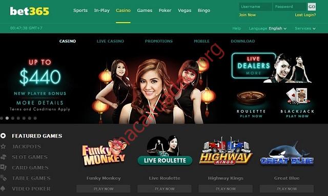 Nhiều tựa game hấp dẫn có tại danh mục casino bet365